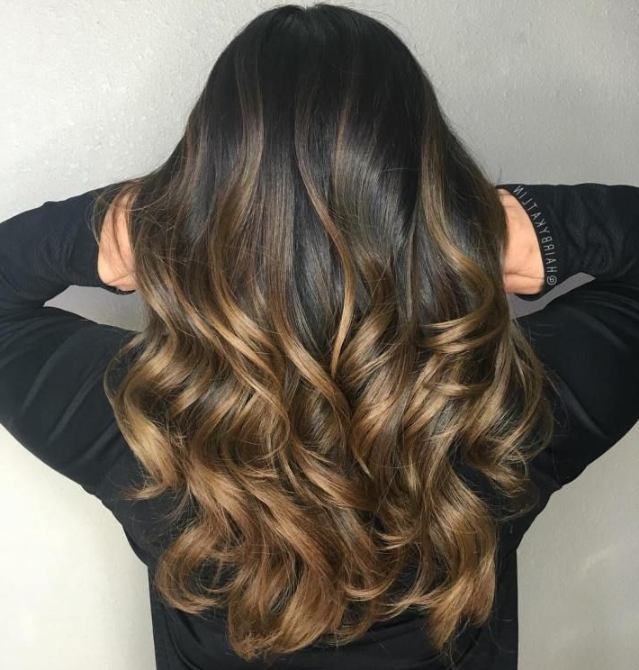 60 Best Ombre Hair Color Ideas For Blond, Brown, Red And Black Hair With Curly Golden Brown Balayage Long Hairstyles (View 2 of 25)