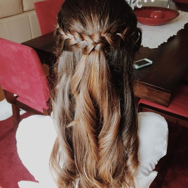60 Cute Easy Half Up Half Down Hairstyles: Wedding, Prom With Regard To Floral Braid Crowns Hairstyles For Prom (View 25 of 25)