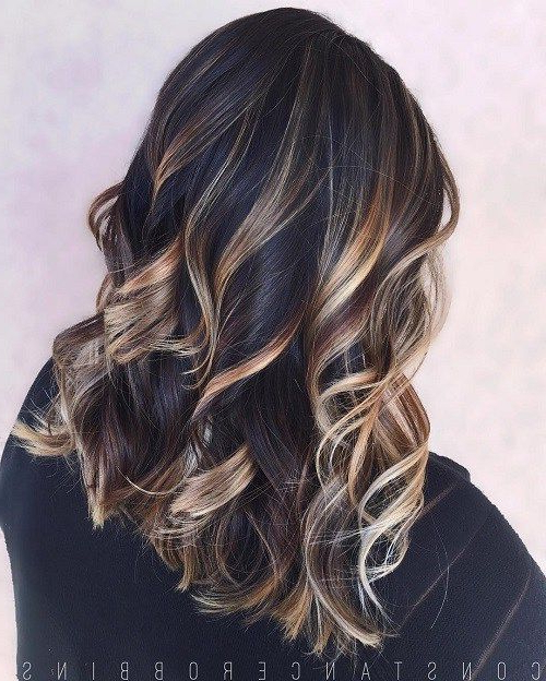 60 Hairstyles Featuring Dark Brown Hair With Highlights In 2019 | Do In Long Thick Black Hairstyles With Light Brown Balayage (View 11 of 25)