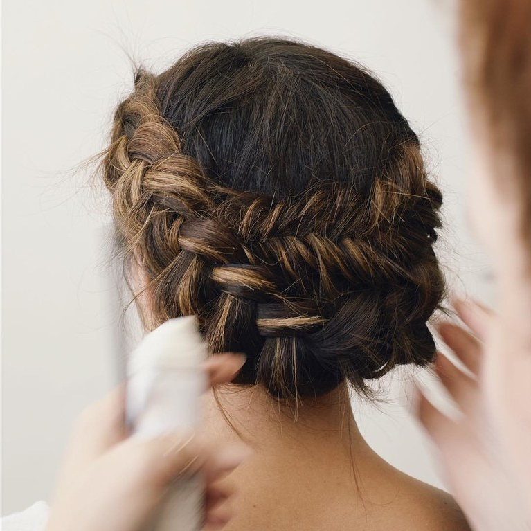 61 Braided Wedding Hairstyles   Brides In Bun And Three Side Braids Prom Updos (View 19 of 25)