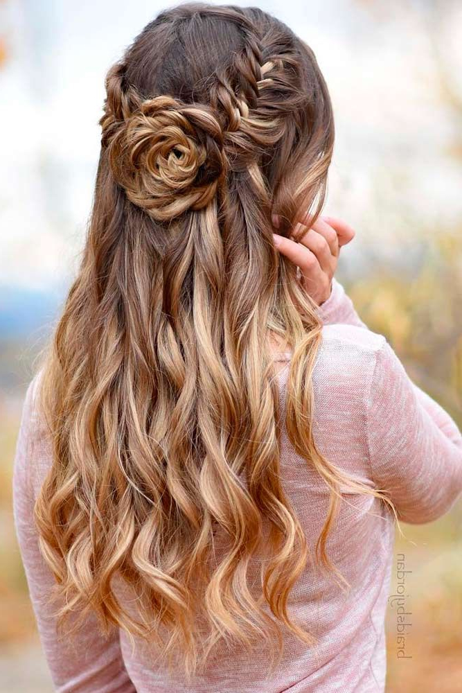 68 Stunning Prom Hairstyles For Long Hair For 2019 | Hairstyles Regarding Curled Floral Prom Updos (View 9 of 25)