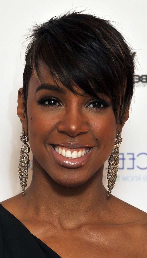 70 Best Short Hairstyles For Black Women With Thin Hair – Hairstyles Regarding Long Hairstyles With Bangs For Black Women (View 18 of 25)