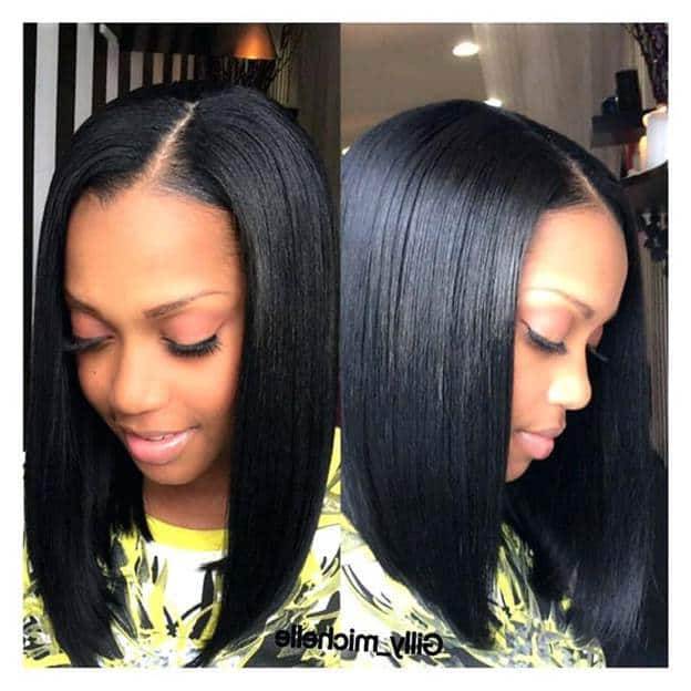 70 Sew In Bob Hairstyles To Give You New Looks In 2019 Throughout Long Bob Hairstyles With Bangs Weave (View 2 of 25)