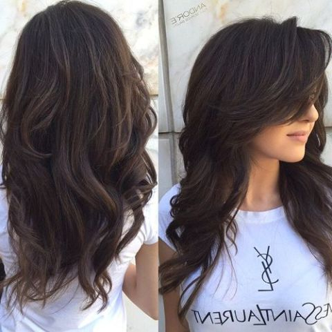 80 Cute Layered Hairstyles And Cuts For Long Hair | Chocolate Brown with Long Layers Thick Hairstyles