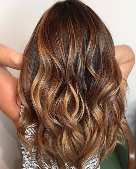 80 Cute Layered Hairstyles And Cuts For Long Hair In 2019 | Cute Pertaining To Warm Toned Brown Hairstyles With Caramel Balayage (View 14 of 25)