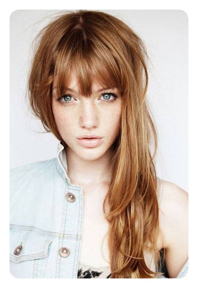 88 Beautiful And Flattering Haircuts For Oval Faces for Long Haircuts With Bangs For Oval Faces