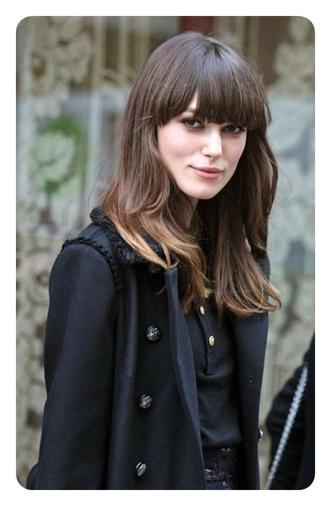 88 Beautiful And Flattering Haircuts For Oval Faces within Long Haircuts With Bangs For Oval Faces