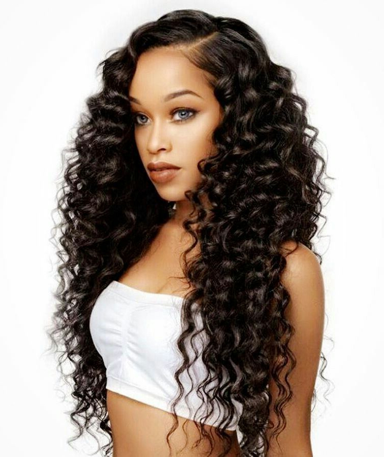8A Mink Virgin Hair 3 Bundles With Closure Deal Brazilian Hair Deep With Regard To Wavy Long Weave Hairstyles (View 5 of 25)