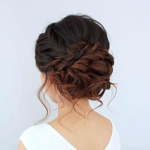 91 Stunning Medium Length Hairstyles That We Are Absolutely Loving Within Side Bun Twined Prom Hairstyles With A Braid (View 22 of 25)