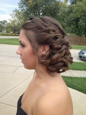 A Curled Side Swept Updo With An Accent Braid Inside Accent Braid Prom Updos (View 16 of 25)