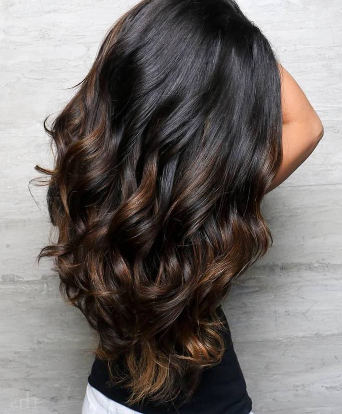 A Fabulous Long Black And Brown Hairstyle Ideas With Highlights Intended For Highlights For Long Hair (View 4 of 25)
