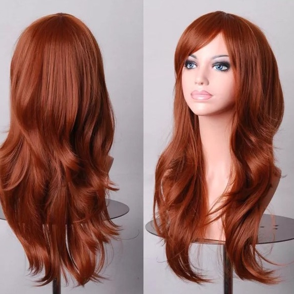 Accessories | Cosplay Wig Red Hair Long Layered Side Swept Bangs With Regard To Long Hair With Layers And Side Swept Bangs (View 21 of 25)