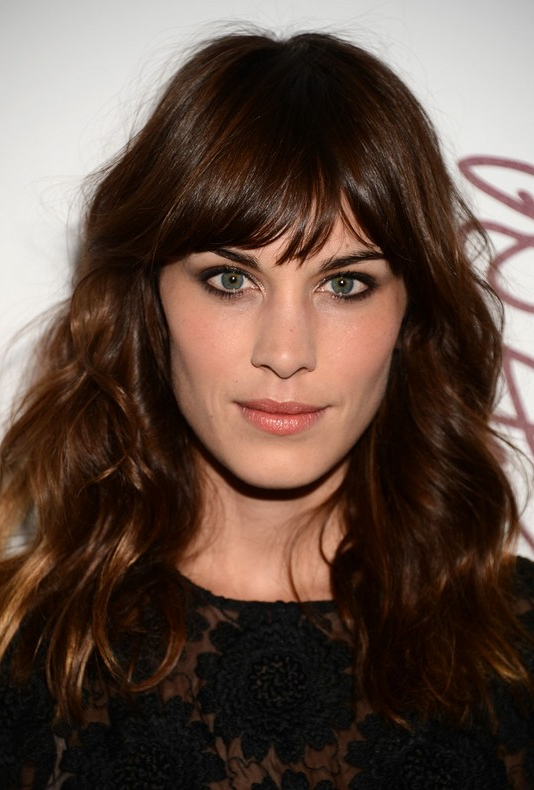 Alexa Chung Latest Hairstyles – Dark Brown Wavy Hairstyle With Bangs Intended For Long Hairstyles Dark Brown (View 10 of 25)