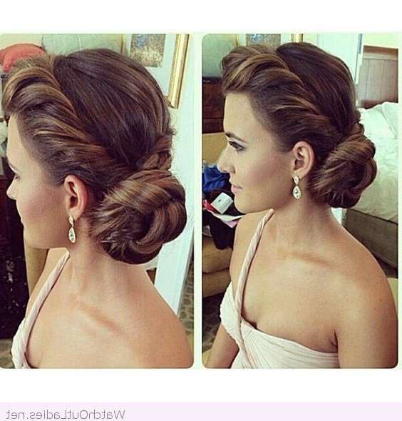 Amazing Side Bun And Earrings For Wedding | Hair Ideas | Bridesmaid Intended For Spirals Side Bun Prom Hairstyles (View 4 of 25)