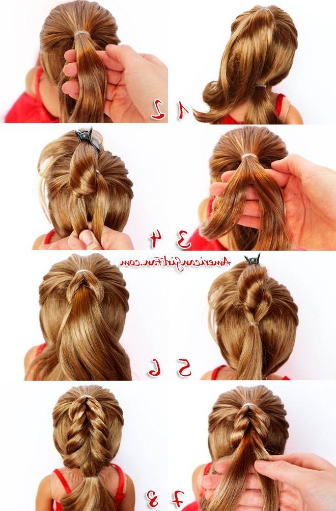 American Girl Doll Hairstyle Christmas Tree Pull Through Braid | Ag Regarding Cute Hairstyles For American Girl Dolls With Long Hair (View 10 of 25)