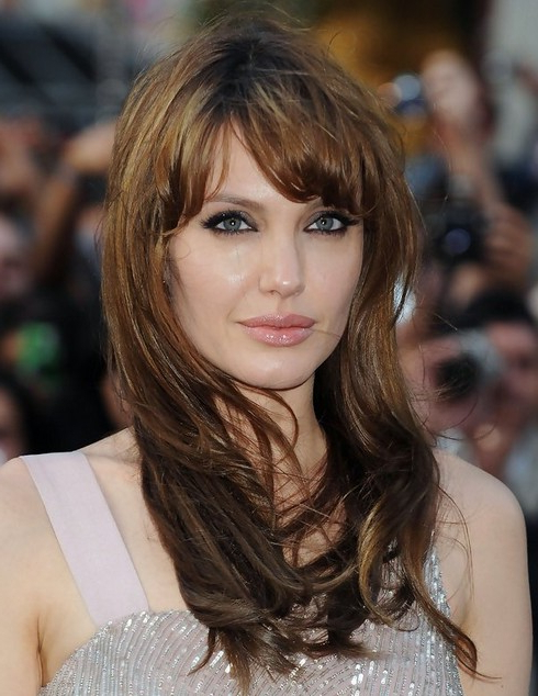 Angelina Jolie Hairstyles: Long Hairstyle With Short Bangs – Popular Regarding Short Bangs Long Hairstyles (View 5 of 25)
