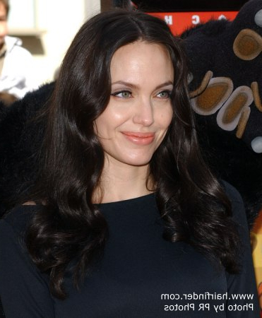 Angelina Jolie's Dark Long Below The Shoulders Hairstyle With Lush Waves Throughout Long Hairstyles Dark Hair (View 22 of 25)