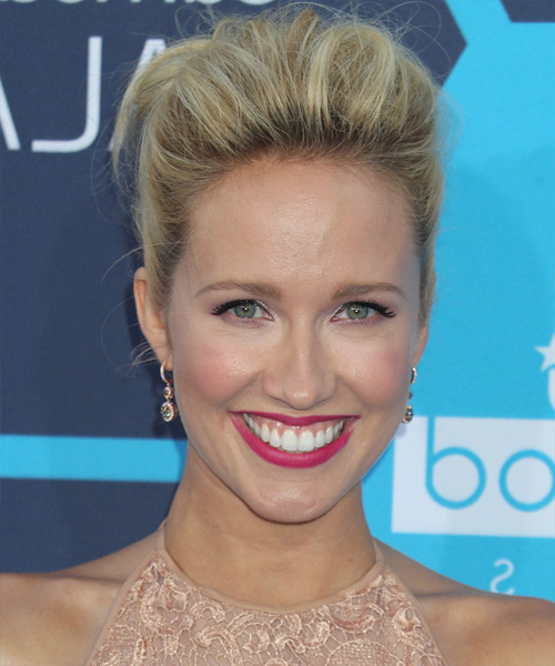 Anna Camp Formal Long Straight Updo Hairstyle – Blonde Hair Color Intended For Long Hairstyles Off The Face (View 8 of 25)