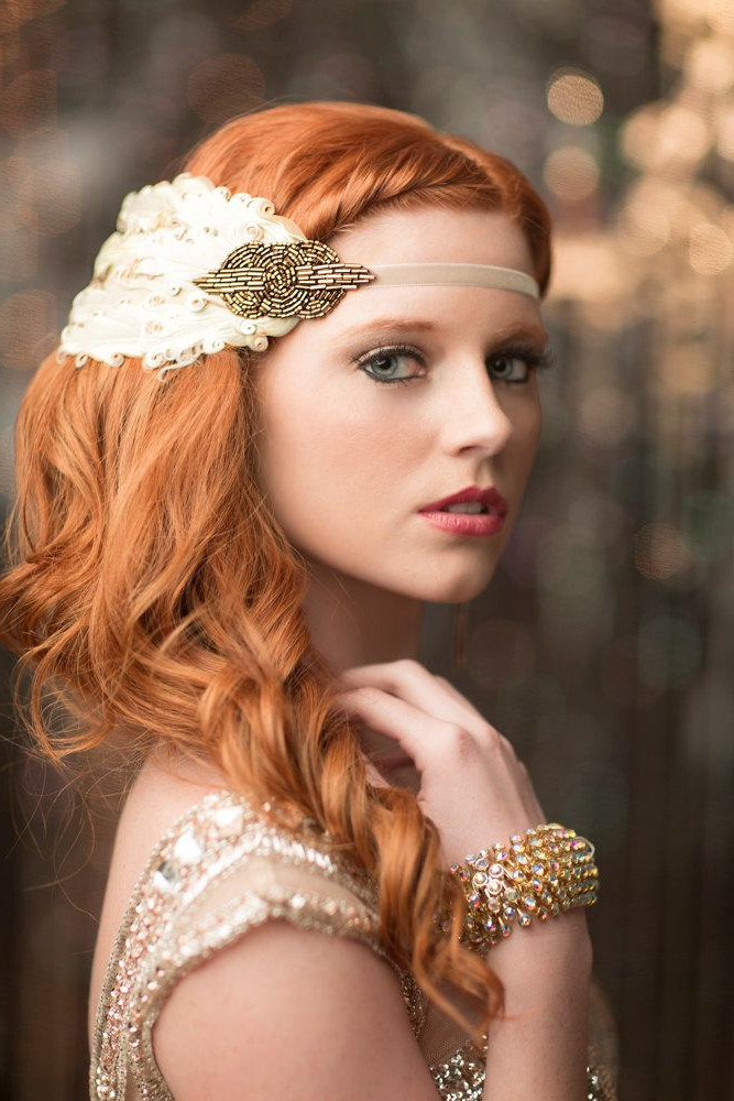 Art Deco Headpiece Roaring 20S Great Gatsby Flapper Girl Fascinator For Flapper Girl Long Hairstyles (View 16 of 25)