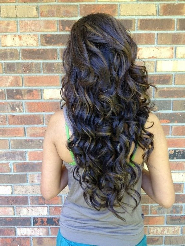 Back View Of Layered Permed Hairstyle For Long Hair – Popular Haircuts Pertaining To Long Hairstyles From Behind (View 7 of 25)