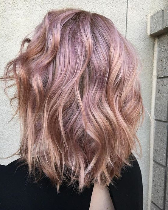 Balayage Wavy Lob Hair Cuts – Metallic Rose Gold Hair Color In Long Hair Colors And Cuts (View 17 of 25)
