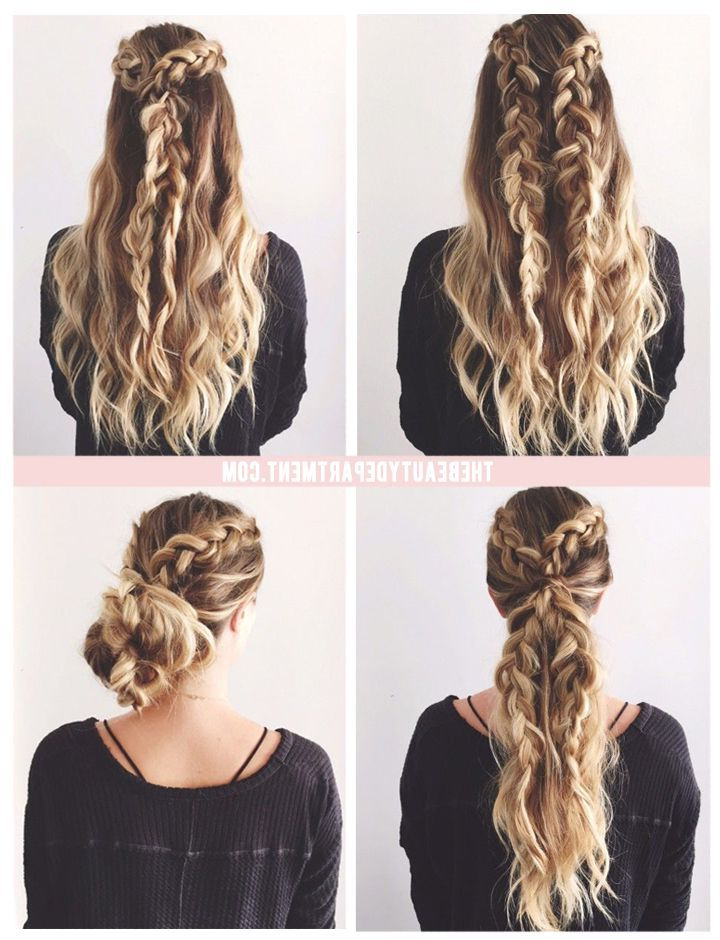 Beachy\bohemian Double Braid And Beachy Curls Updo #avedaibw For Braids For Long Thick Hair (View 4 of 25)
