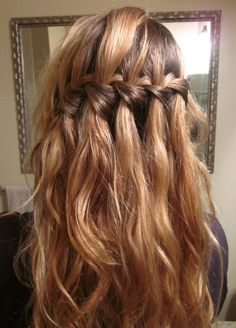 Beautiful Cascade/waterfall Braid Hairstyles Gallery – Hairstyles Weekly Inside Long Curly Braided Hairstyles (View 14 of 25)
