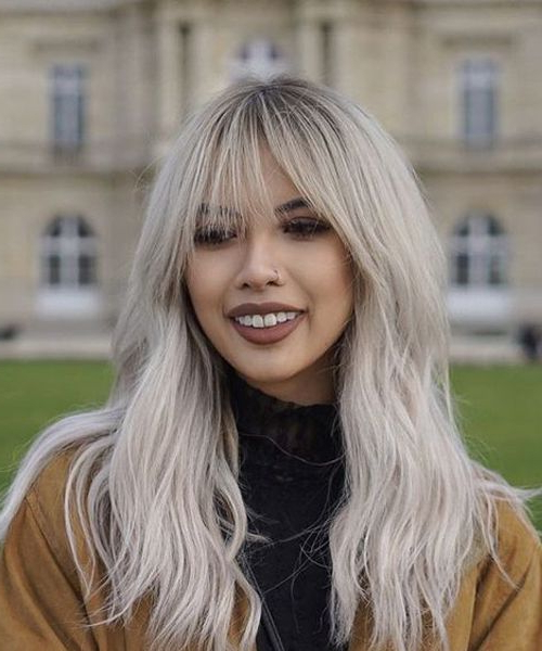 Beautiful Full Fringe Long Silver Hairstyles 2018 For Women To Look With Full Fringe Long Hairstyles (View 3 of 25)