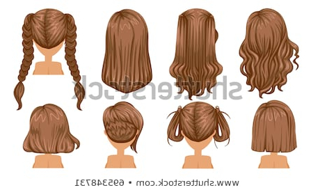 Beautiful Hairstyle Brown Hair Woman Rear Stock Vector (Royalty Free Throughout Long Hairstyles Front And Back View (View 15 of 25)