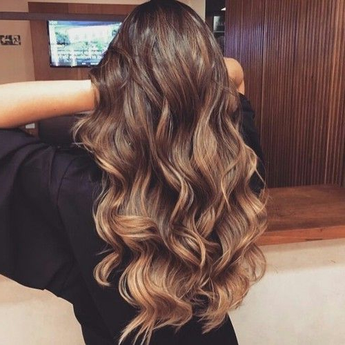 Beautiful Long Brown Hair, Chocolate Brown, Caramel Low Light Intended For Curly Golden Brown Balayage Long Hairstyles (View 5 of 25)