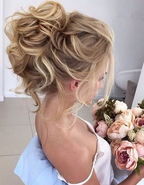 Beautiful Loose High Bun Wedding Hairstyles 2017 | Prom | Wedding With Regard To Messy High Bun Prom Updos (View 16 of 25)