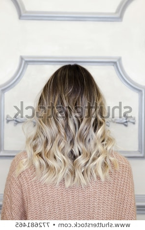Beautiful Woman Balayage Hairstyle Back View Stock Photo (Edit Now In Long Hairstyles Back View (View 16 of 25)