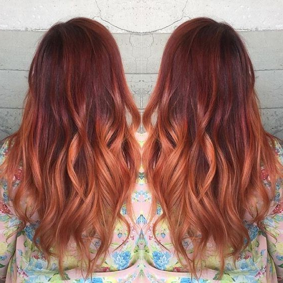 Beauty Red Hair Balayage Ombre Votre Coiffure For Long Hairstyles Red Hair (View 12 of 25)