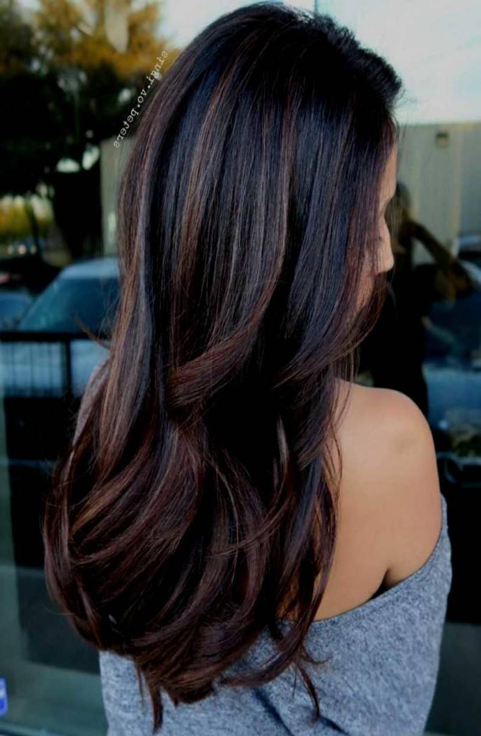 Best Balayage Medium Length Dark Black & Brown Hairstyles With Regarding Long Hairstyles With Blonde Highlights (View 25 of 25)