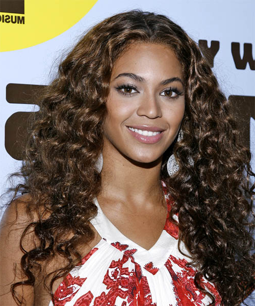 Beyonce Knowles Casual Long Curly Hairstyle – Dark Brunette Hair Color For Casual Hairstyles For Long Curly Hair (View 11 of 25)