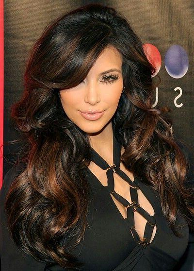 Big Hair, Wavy Curls,side Swoop Bangs, Long Dark Hair With Copper Inside Long Hairstyles With Swoop Bangs (View 10 of 25)
