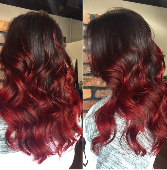 Black To Red Ombre Hair Curly Long Hairstyle Votre Coiffure Pertaining To Long Hairstyles Red Ombre (View 9 of 25)