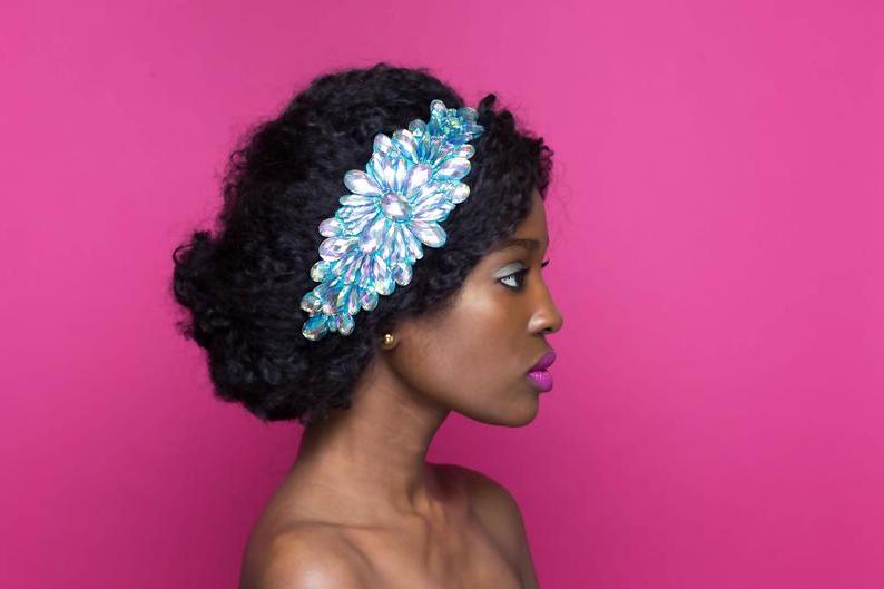 Blue Rhinestone Headband Blue And Purple Jewel Headband   Etsy Within Jewelled Basket Weave Prom Updos (View 20 of 25)