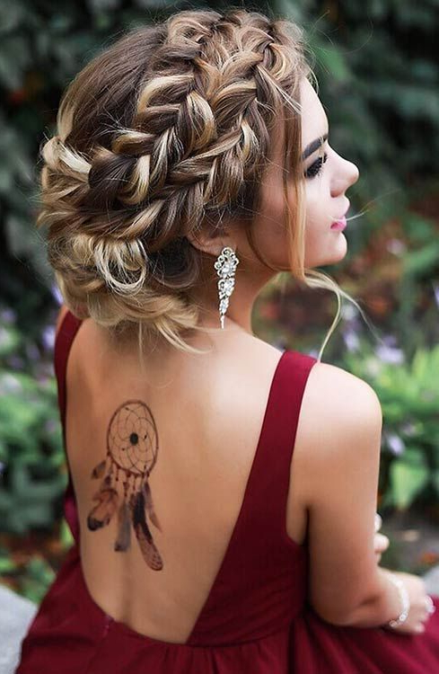 Boho Braided Updo Prom Long Hair – Cool Prom Hairstyles | ? Hair Inside Braid Spikelet Prom Hairstyles (View 7 of 25)