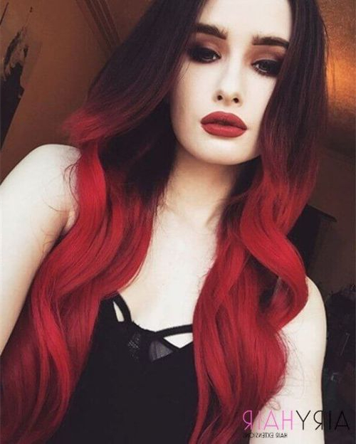 Bold Long Hairstyle, Red Ombre On We Heart It Throughout Long Hairstyles Red Ombre (View 20 of 25)