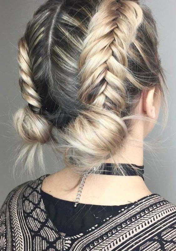 Braided Hairstyles For Short Hair With Regard To Double Fishtail Braids For Prom (View 11 of 25)