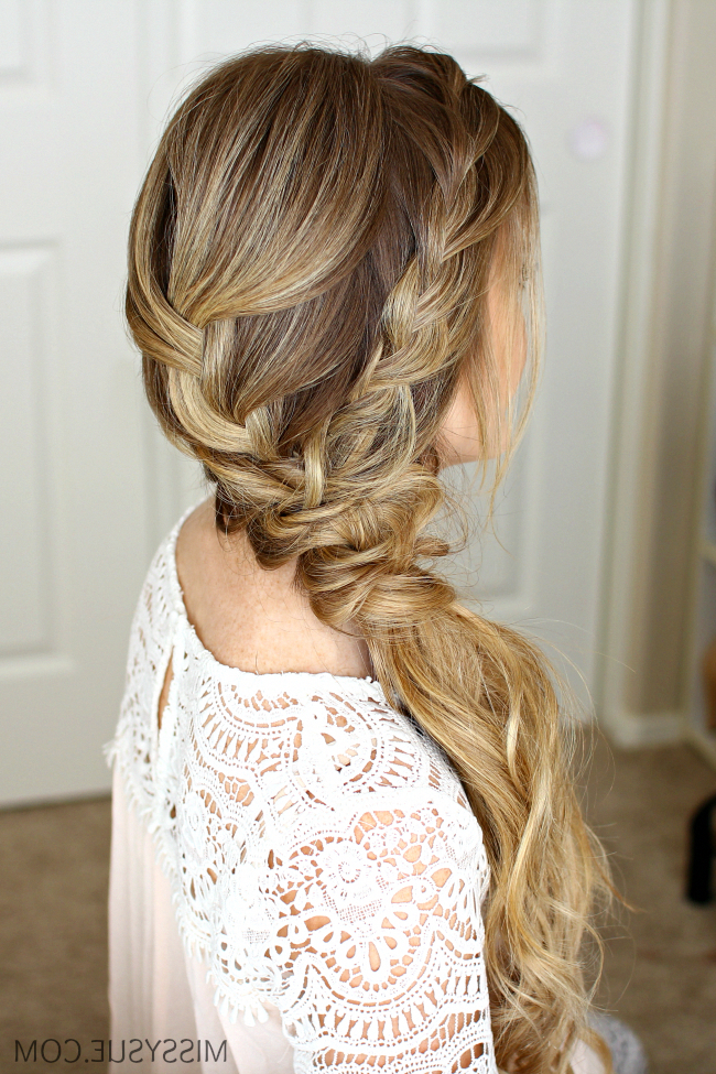 Braided Side Swept Prom Hairstyle #braidedhairstyles   Braids With Curly Knot Sideways Prom Hairstyles (View 11 of 25)