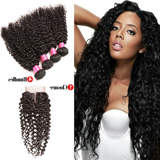 Brazilian Virgin Hair 4 Bundles With Closure Kinky Curly Virgin Hair With Long Virgin Hairstyles (View 23 of 25)