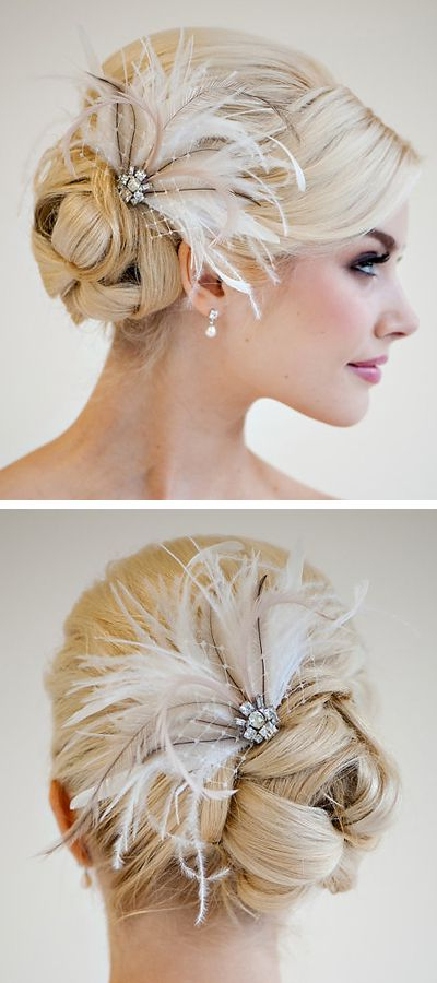 Bridal Feather Hairpiece, Wedding Feather Headpiece, Bridal Feather Inside Side Bun Prom Hairstyles With Jewelled Barrettes (View 3 of 25)