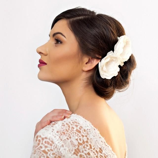 Bridal Hair Flowers Peony Rose – Wedding Flower Hair Piece – Double Throughout Side Bun Prom Hairstyles With Orchids (View 14 of 25)