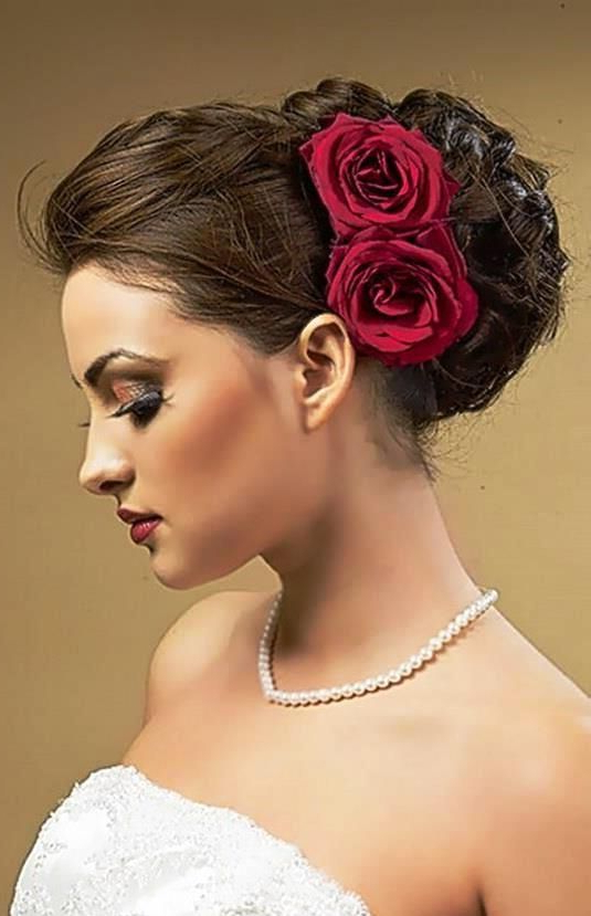 Bride's Braided Updo With Side Red Roses Wedding Hairstyle This Is Throughout Side Bun Prom Hairstyles With Orchids (View 8 of 25)