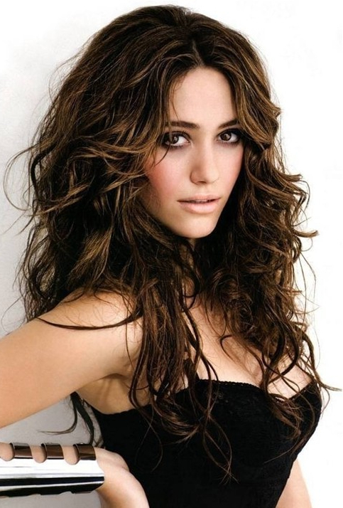 Brown Messy Hairstyle For Long Hair – Emmy Rossum's Hairstyles With Messy Long Haircuts (View 7 of 25)