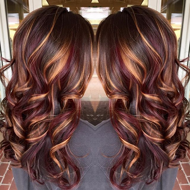 Brunette Hair Color With Burnished Blonde Highlights Curly Long With Long Hairstyles And Colours (View 2 of 25)