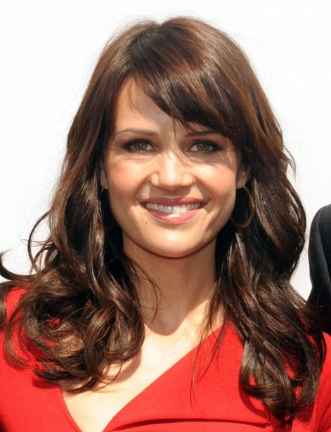 Carla Gugino Long Hairstyles With Side Bangs – Popular Haircuts For Long Hairstyles For Women Over 40 With Bangs (View 20 of 25)
