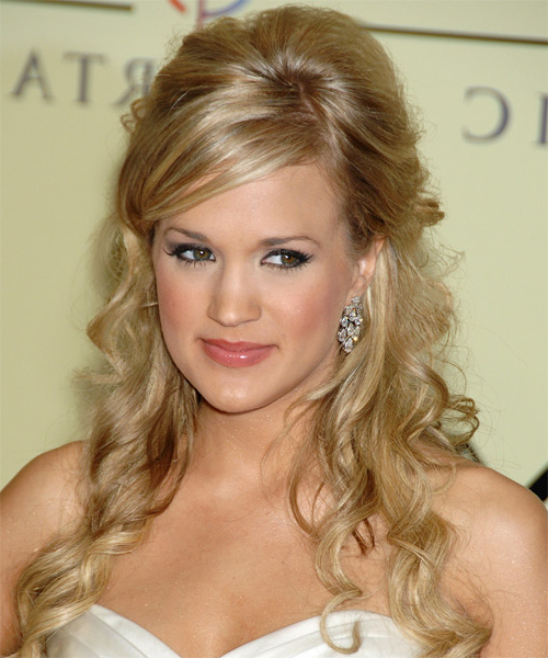 Carrie Underwood Formal Long Curly Half Up Hairstyle Throughout Carrie Underwood Long Hairstyles (View 14 of 25)
